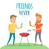 Two Man Fried Meat on Barbecue Friends Forever. Friends forever has funny free time in cartoon style. Two man with drink fried meat on barbecue in summer sunny stock illustration