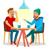 Two Man Friends Drinking Coffee Vector. Best Friends In Cafe. Sitting Together In Restaurant. Have Fun. Communication. Friends In Cafe Vector. Two Man. Drinking vector illustration
