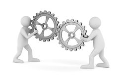 Two man with gears Royalty Free Stock Photos