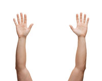 Two man hands waving hands. Gesture and body parts concept - two man hands waving hands Royalty Free Stock Photography