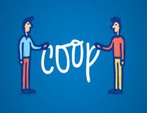 Two man holding coop word Royalty Free Stock Photos