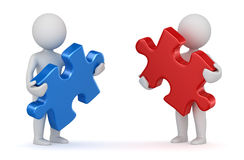 Two man holding red and blue puzzle piece Royalty Free Stock Photography