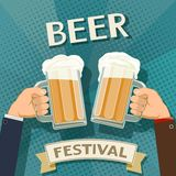 Two man holds in his hands a mugs of beer. Festival of craft brewing. Stock  retro illustration Stock Images