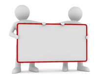 Two man holds the poster in a hand. 3D image Royalty Free Stock Image
