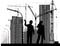 Two man and industrial landscape Royalty Free Stock Photos