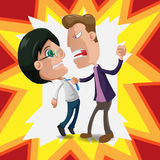 Two Man Intimidate Fight Cartoon Vector Stock Photography