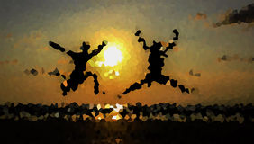 Two man jump in texture. Use for background Stock Images