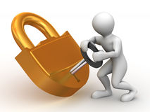 Two man with lock Royalty Free Stock Image