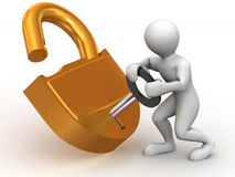 Two man with lock Royalty Free Stock Photography