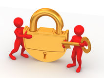 Two man with lock Royalty Free Stock Images