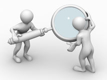 Two man with loupe. Search Stock Photography