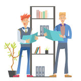Two man office workers in casual clothes standing at the shelf with folders and holding documents. Business vector stock illustration