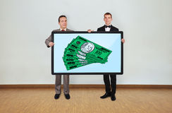 Two man and plasma with dollar Stock Image