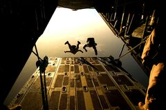 Two Man Sky Diving in Low Angle Photography Stock Photography