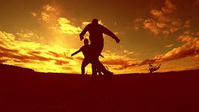 Two man soccer player playing with ball outdoors during sunset silhouette slow motion video . men playing European. Soccer on nature sunset sunlight silhouette stock video