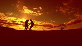 Two man soccer player playing with ball outdoors during sunset silhouette slow motion video . men playing European. Soccer on nature lifestyle sunset sunlight stock video