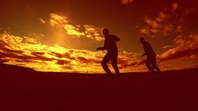 Two man soccer player playing with ball during sunset silhouette slow motion video. men playing European soccer on. Outdoors nature sunset sunlight silhouette stock footage