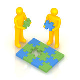 Two man solving puzzle. 3D render of Two man solving puzzle Royalty Free Stock Image