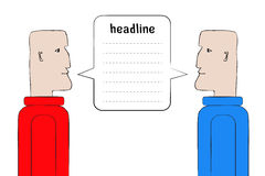 Two man staring at each other. Red vs. Blue. Symbol of discussion, negotiation, debates, confrontation, arguing, public speech, conflict. United speech bubble Stock Photo