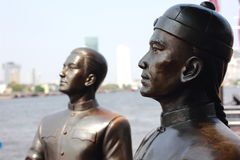 Two man statues. On the waterfront Stock Image