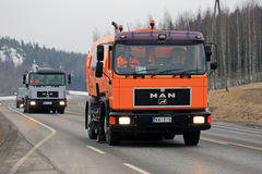 Two MAN Street Sweeper Trucks royalty free stock image