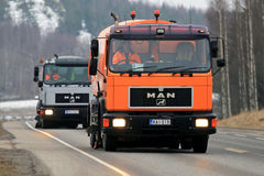 Two MAN Sweeper Trucks Close Up Stock Image