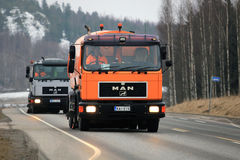 Two MAN Sweeper Trucks stock photo