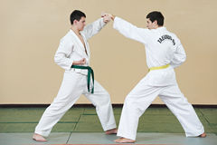 Two man at taekwondo exercises Royalty Free Stock Photography