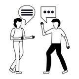 Two man talk bubbles. Conversation vector illustration vector illustration