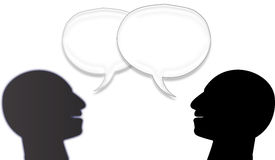 Two man talking with bubbles. Two Men silhouette face talking with bubbles white background, Talking symbol Talking symbol isolated on white Royalty Free Stock Photo