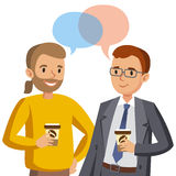 Two man talking. Meeting of friends or colleagues. Vector Stock Image