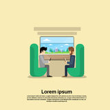 Two Man In Train Compartment Vacation Holiday Trip Banner Stock Images