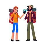 Two man travelling, hitchhiking with backpacks and ticket Stock Photo