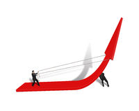 Two man trying to rise red arrow up Stock Photos