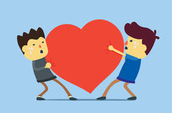 Two man want same heart. Two man try to get same heart. This illustration meaning to a love problem Royalty Free Stock Photo