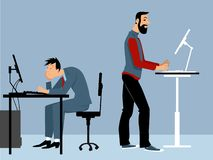 Advantages of a standing desk. Two man working at the office on the computers, one of them using a standing desk, PS 8 vector illustration vector illustration