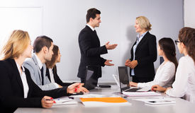 Two managers handshaking Stock Photography