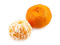 Two mandarines on the white Stock Photography