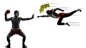 Two mangas video games martials arts fighters fighting Royalty Free Stock Photos