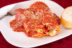 Two manicotti Stock Photography