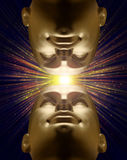 Two mannequin heads looking at light above Stock Image
