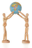 Two mannequin holding globe, isolated Stock Photo