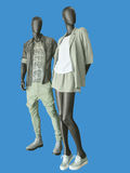 Two mannequins, male and female, dressed in casual clothes. Stock Image