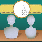 Two mannequins. Vector illustration in the form of two mannequins with a needle and thread Royalty Free Stock Images