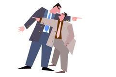 Two mans. Two businessmans debates finance crises vector illustration