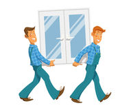 Two mans carry window Stock Photos