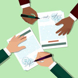 Two mans signs documents Royalty Free Stock Photos