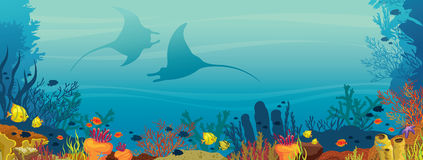 Two mantas, coral reef and fish - underwater illustration. Silhouette of two mantas, coral reef and school of fish on a blue sea background. Underwater marine Stock Image
