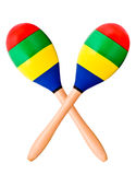 Two Maracas. Crossed isolated on white stock photo
