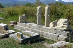 Two marble busts in the site of Ireo in the Greek island of Samos. Ireo is the most important archaeological site of Samos, located near the town of Pythagorion Royalty Free Stock Photography